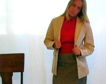 Vintage 1960s Leather Blazer Jacket Coat Cream Tan