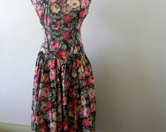1980s Drop Waist Dress Floral Dress Full skirt Vintage Dress