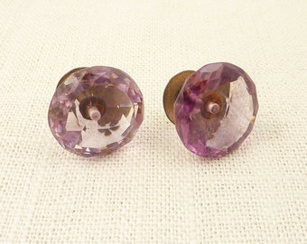 SALE --- Antique Victorian Faceted Amethyst Glass on Brass Posts Cuff Links