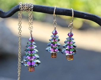 Color changing crystal Christmas tree gold necklace and earring set - Swarovski crystal elements, 14k gold filled chain- free shipping USA