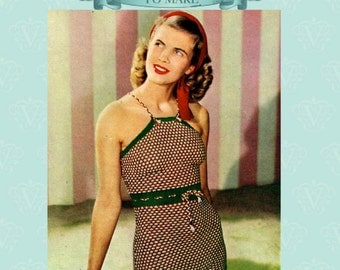 Instant download-Vintage1940s knitting pattern how to knit a swimsuit pdf email delivery