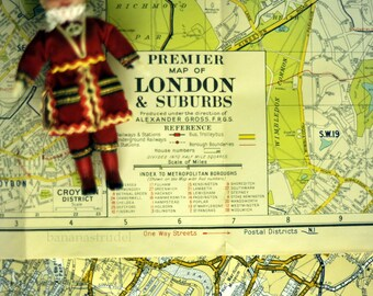 1950s Vintage Map of London and Suburbs - Vintage Street map - London Vintage Map - Wall Size map