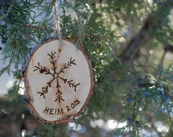 Wood Burned Christmas Ornament - Custom Name Included - Snowflake - Unique Perfect Gift for Friends n Family - Rustic - Baby's First