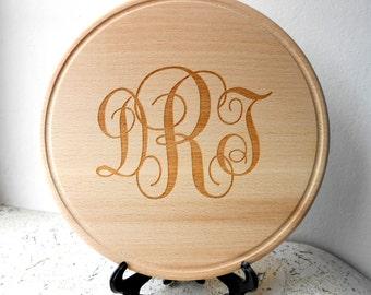 Personalized cutting board, custom monogram cutting board, round wooden cheese board, serving board, wedding, anniversary eco friendly gift