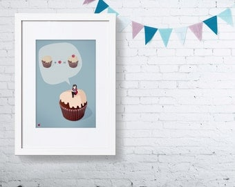 Cupcake equation Print 5 x 7 reading girl fun whimsical