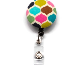 Retractable Badge Holder ID Reel - Multi Jewel Tone Dots Fabric - Badge Reel Name Badge ID holder - Nurses Teachers Students