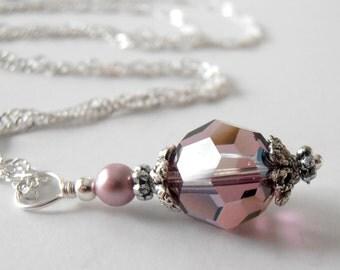 Purple Crystal Pendant Necklace Bridesmaid Jewelry Dusky Purple Wedding Jewelry Swarovski Crystallized Elements Bridesmaid Necklace Mauve