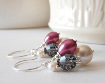 Bridesmaid Jewelry - Sangria and Gray Bridesmaid Earrings - Pearl and Crystal Bead Cluster Dangles - Wedding Jewelry Set