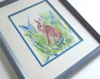 Brown Rabbit Watercolor Painting Fine Art in Mat & Frame Wildlife Portrait Spring Nature Contemporary Nursery Decor Small Format Art