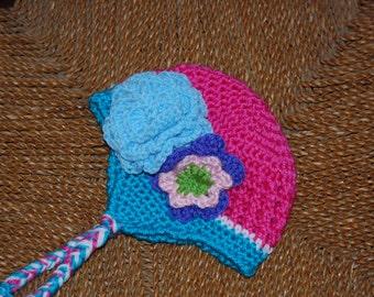 Hot Cross crochet beanie with earflaps