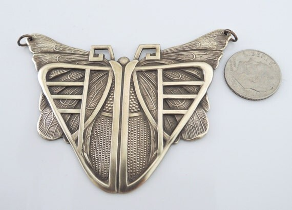 Pendant - Butterfly - Vintage Brass Stamping - Large for Necklace - Statement Jewelry - DIY