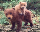 Needle Felted Grizzly Bear Mom and Cub, Brown Bear