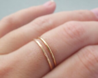 Thin Gold Rings 2 tiny stackable rings thumb ring, knuckle ring or pinky rings handmade jewellery australia