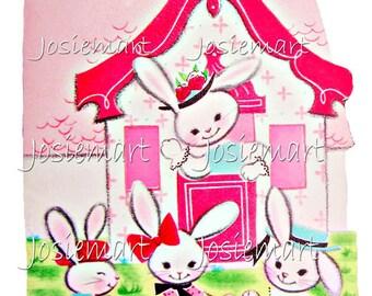 Easter Bunny House Vintage Digital Download Vintage Image Pink Collage Large JPG
