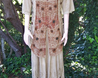 Boho Dress, India Dress, Embroidered Dress, Brown Indian dress, 80s Embroidered maxi, size L