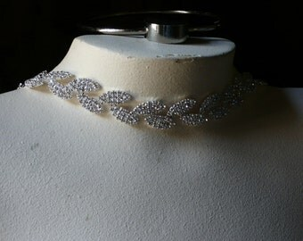 "12"" Rhinestone Trim  Leaves for Bridal Sashes, Headbands, Garters, Jewelry"