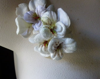 Ivory Pansies Velvet for Bridal, Headbands, Boutonnieres, Hats, Costumes MF 205iv