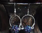 Wrapped Loop Earrings - Blue Crystal Ball