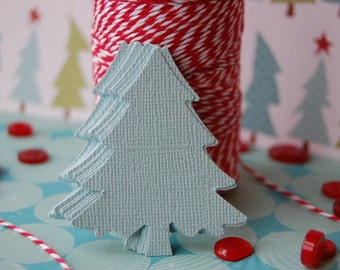 Large Christmas Tree Punch Cut Outs in Shimmer Ice Blue -- Set of 15 -- Ready to Ship