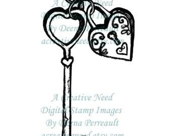 INSTANT DOWNLOAD Digital Stamp Image Vintage Heart Lock and Key CHARM