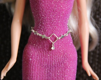 """Silver Diamonds Doll Jewelry Belt Belly Chain & Earrings Set for 11 1/2"""" 12 inch 1/6th Scale Fashion Dolls"""