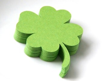 20 Small 4-Leaf Clover Die Cuts, Shamrock Die Cuts for St. Patrick's Day