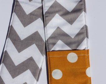 Camera Strap Cover- lens cap pocket and padding included- Grey Chevron/ Mustard Dot