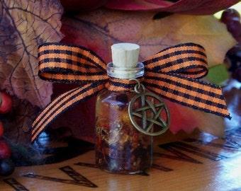 "TRICKS 'N TREATS Spirit of Samhain ""Artisan Alchemist""™ Shimmer Orange Ritual Oil w/ 13 Herbs - Halloween, Third Harvest Sabbat"