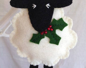 Christmas Decorations - Wool Felt Sheep - Holly - Decoration - Festive - Merry Christmas - Yule