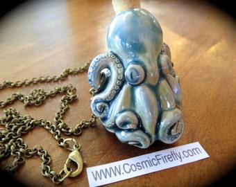 Octopus Necklace Rustic Blue Glazed Ceramic Bottle Necklace Antiqued Brass Rolo Chain Nautical Steampunk Necklace Blue Octopus Pendant