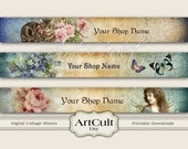 ETSY SHOP BANNERS Set No11, Multipurpose Printable images Digital Download Collage Sheets, Bookmarks, Scrapbooking Clip Art Paper, Art Cult