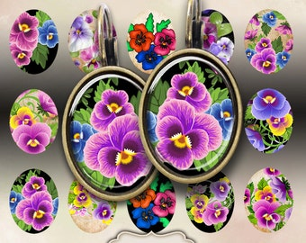 13x18 mm size oval images PANSIES Digital Collage Sheet Printable Download for Earrings Charms Bracelet bezel tray settings by Art Cult