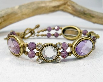Purple Rhinestone Bracelet | Bronze and Amethyst Bracelet | Double Strand Bracelet | Women's Bracelet