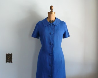 vintage 1960s Dress  // Cobalt Linen Dress