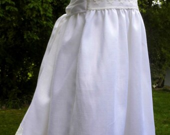 Ivory Linen gown, lace gown, Infant gown, Christening gown, Baptism gown, Blessing gown, Dedication gown, baby dress