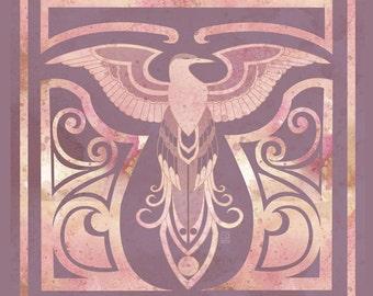 Golden Phoenix- 8x8 phoenix transformation motif illustration