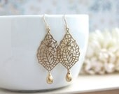 Gold Paisley Filigree Chandelier Gold Drop Dangle Earrings, Bridesmaid Earrings, Bridesmaid Gift,  Gold Wedding Bridal Jewelry. Modern Gold
