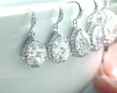 15% OFF Sale - Set of Six, 6 pairs of Pear, Teardrop LARGE LUX Cubic Zirconia White Crystal Wedding Earrings.Bridesmaids Gifts. Bridal Party
