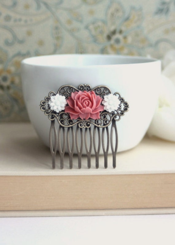 Soft Romantic Rose, White Chrysanthemum Flower Collage Antiqued Brass Hair Comb, Bridesmaids Gift.  Wedding Comb. Country French
