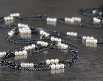 Multi strand pearl necklace, minimalist jewelry, simple everyday necklace, oxidized sterling silver, black and white -Zephyr