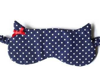 Navy Cat Sleeping Mask, Cat Shape Sleep Mask, Halloween Accessories, Cat Sleepwear, Valentines Gift, Made To Order