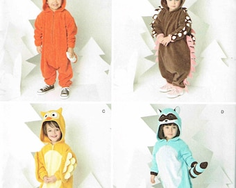 Baby Fox hedgehog Owl or Raccoon Toddlers Infants Children Animal Halloween Costume Sewing Pattern Simplicity 1351 Size 1/2 1, 2, 3, 4