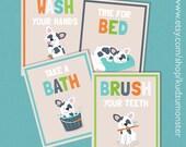 Printable Art set of 4 bathroom kid's art prints Wash your hands, brush your teeth, take a bath, boston terrier french bulldog illustrations