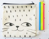 Hand painted Cat Face with Polkadots Canvas Pencil Case, Nylon Zipper pouch, Make up pouch, Catch All Pouch