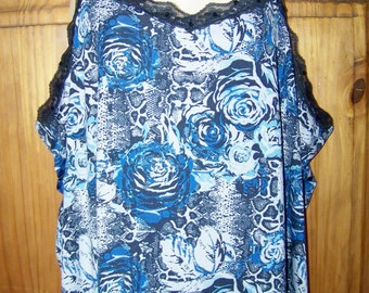 4X Camisole tank top with lace jersey stretch blue white floral print
