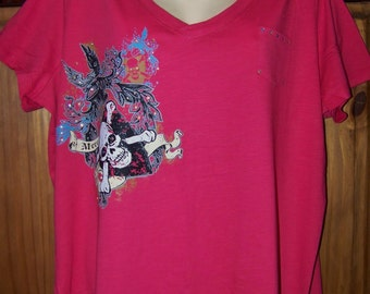V-neck 2X T-shirt, Day of the Dead, Shirt Size 2X Plus Size, Rhinestones, Coral Color, Mere Mortal Gothic Print, Short sleeve Graphic Tee