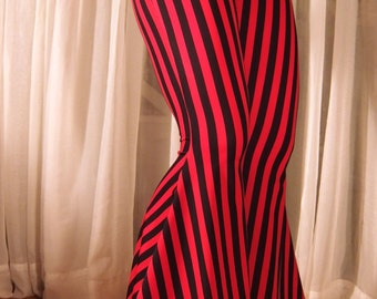 "Flare tribal pants - 1/2"" black and red stripes - YOUR SIZE"