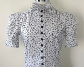 1930's Style Music Note Print Blouse