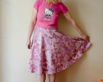 Pastel Pink Circle Skirt, Watercolor Flower Print Spring Cotton Skirt