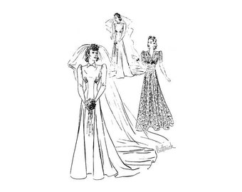 Vintage 1930s Wedding Gown Pattern Butterick 8543, Bust 32, Long Flared Skirt, Fitted Midriff, 30s Collectible Rare Evening Dress Pattern